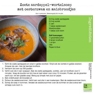 Zoete Aardappelwortelsoep Met Oesterzwam En Maisbroodjes